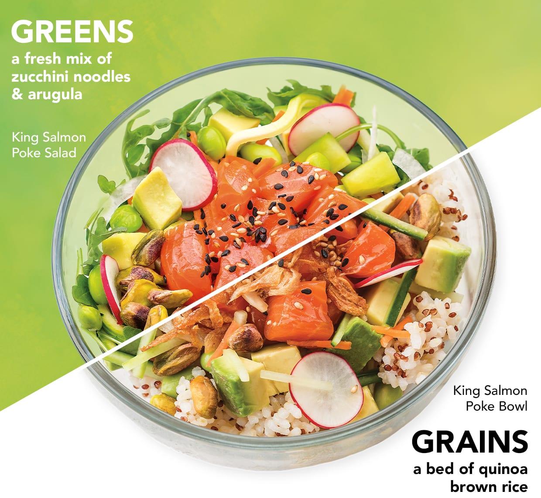 Greens and Grains Poke Bowls